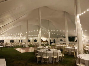 Interior view of 60' wide Century Pole tent for a wedding in Casco MI