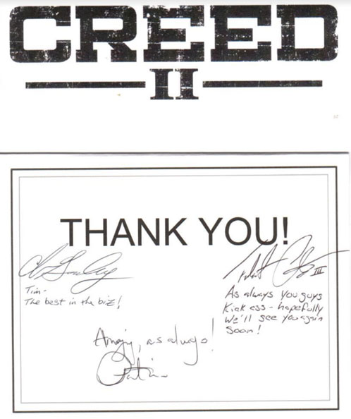 Creed thank you note